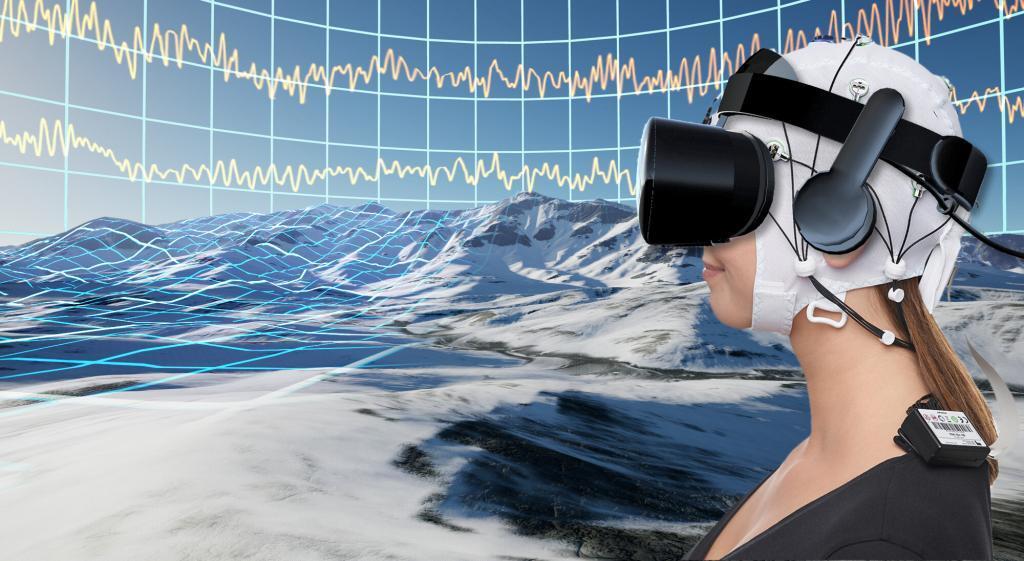 Schematische Darstellung der geplanten Anwendung. Nutzer tauchen mittels eines Head-Mounted Displays in eine virtuelle Welt ein. Zur Maximierung der Schmerzreduktion lernen die Nutzer ihre Gehirnaktivität zu regulieren. Bild: VTplus GmbH und Brain Products GmbH