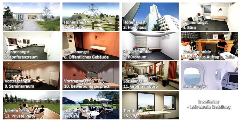 Virtuelle Umgebungen für Konfrontations- und Verhaltensübungen mit virtueller Realität