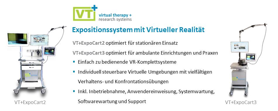 Das VTplus(C) Expositionssystem mit virtueller Realität ermöglicht Therapie mit Virtueller Realität für stationäre und ambulante Einrichtungen.
